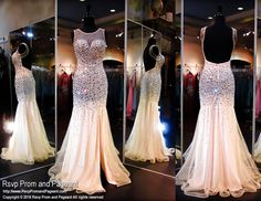 This glamorous champagne evening gown is totally out of this world! It is completely covered with large sparkling AB stones and features a high neckline bodice cascading into a low sexy open back. The skirt has a slit to complete the package! Just fabulous and it's at Rsvp Prom and Pageant, your source for the HOTTEST 2016 Prom and Pageant Dresses!