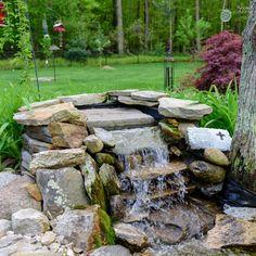The Best Stone Waterfalls Backyard Ideas – Pool Landscape Ideas Backyard Water Feature, Ponds Backyard, Backyard Ideas, Pond Landscaping, Landscaping With Rocks, Pond Design, Landscape Design, Sun Garden, Garden Plants