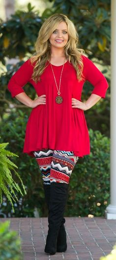 Topped With A Bow Tunic - Red - Perfectly Priscilla Boutique