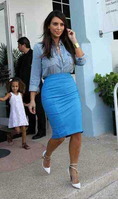 Kim loves her pencil skirts!