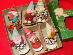 vintage pixie elf band pine cone Christmas ornaments