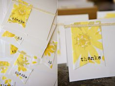 Easy directions for making a bundle of thank you cards with fabric scraps, lace or trim and your sewing machine.  Line them up and do a bunch at once!  Stamp your sentiment directly on the fabric.  DIY thank you card.