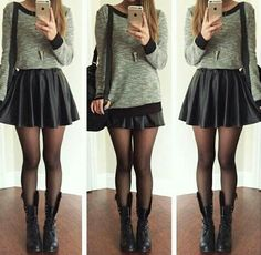 sweater, high-waisted skirt, tights, combat boots