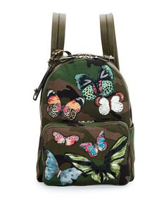Camo-Print Butterfly Backpack by Valentino at Neiman Marcus.