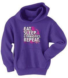 Eat. Sleep. Gymnastics. Repeat. Hoodie // Gymnast Gift Guide