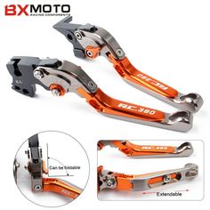 Orange Motorcycle aluminum Adjustable Foldable Lengthening brake clutch levers for ktm rc 390 2014 2015 2016 Free Shipping