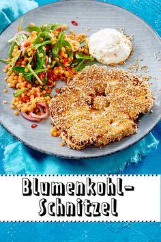 Blumenkohl-Schnitzel schmecken nicht nur Vegetariern: Mit unserem Rezept für das Gemüse-Schnitzel und leckeren Ideen für die Panade, kannst du zuhause direkt loslegen!