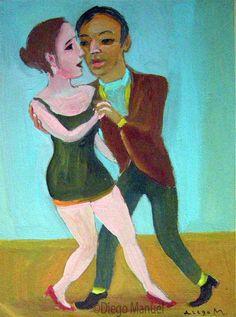 tango enamorado 2, pinturas de Diego Manuel Venta de una pintura sobre el tango Argentino. Sale of a painting of the Argentine Tango.