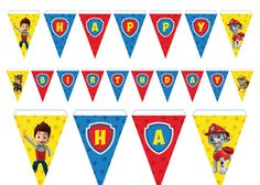 Paw Patrol Banner Happy Birthday By PaperPartyDesign