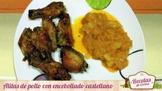 Alitas de pollo con encebollado castellano -  Si ricas están unas buenas alitas de pollo asadas al horno más ricas están si le añadimos un encebollado castellano hecho con patatas y cebollas con su toque de picante y sal. El plato de hoy es rico y sano, ya que el pollo es una carne que apenas tiene grasa y las patatas son cocinadas, no est... - http://www.lasrecetascocina.com/alitas-de-pollo-con-encebollado-castellano/