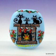 """DECK THE HALLS"" byKAYO Handmade CHRISTMAS CAT Lampwork Art Glass Focal Bead SRA"