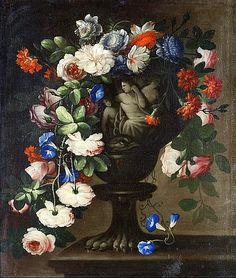 Francesco della Questa Still Life with Flowers in a Classical Urn 17th century Via: Still life quick heart