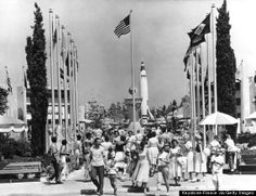 We think that black haired lady in the dress might be our mother at Disneyland. 1958