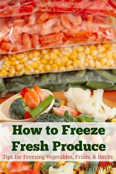 How to Freeze Fresh Produce - Tips for Freezing Vegetables, Fruits, and Herbs - Directions for Freezing Fresh Produce – Whether you have a large harvest from your garden or find - Freezing Vegetables, Frozen Vegetables, Freezing Fruit, Store Vegetables, Freezing Fresh Herbs, Planting Vegetables, Roasted Vegetables, Meals With Vegetables, Freezing Carrots