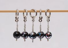 Knitting Stitch Markers, Oriental Black and Silver, snagless
