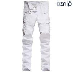27.55$  Buy now - https://alitems.com/g/1e8d114494b01f4c715516525dc3e8/?i=5&ulp=https%3A%2F%2Fwww.aliexpress.com%2Fitem%2FMen-s-white-slim-skinny-stretch-moto-biker-jeans-Casual-pockets-cargo-pants-Long-trousers%2F32717387741.html - Men's white slim skinny stretch moto biker jeans Casual pockets cargo pants Long trousers