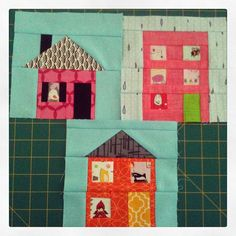 Little paper pieced houses for @luellabella  I may have gotten carried away with the fussy cutting...