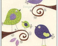 Aves de impresión lámina decoración niños de por DesignByMaya