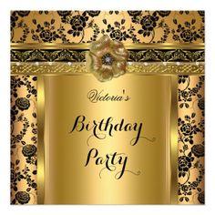 Damask Rose Gold Black Jewel Birthday Party Invitation