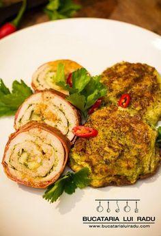 File de porc cu leurda si chiftelute de cartofi cu broccoli si branza. Ratatouille, Salmon Burgers, Broccoli, Ethnic Recipes, Pork, Kitchens, Salmon Patties