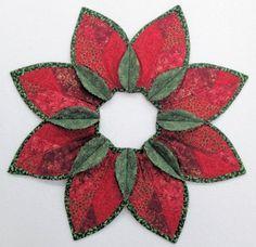 Poinsettia Fold'n Stitch Leaf Topper Kit #foldnstitch #poorhousequiltdesigns