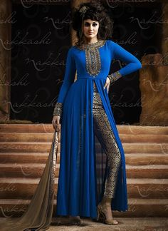 Utmost Blue Georgette Pencil Style Churidar Suit