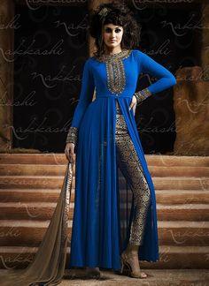 Utmost Blue Georgette Pencil Style Churidar Suit