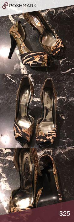 Guess 5in Heels Cheetah & Snakeskin Open Toe Heel by Guess Guess Shoes Heels