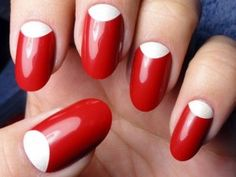 Red Nails with White Half Moons - Using China Glaze Italian Red Polish. See more at http://www.naildesignsforyou.com | http://www.naildesignsforyou.com/red-nail-designs-art/ #nailart #naildesigns #nails #rednails #rednaildesigns #rednailart