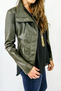 Zip front faux leather jacket with snap button details at neckline. Knit detail at sides and sleeves. This is the perfect fall jacket and the faux leather feels so real! Preorder yours now! Fall Fashion 2016, Fall Fashion Outfits, Autumn Fashion, Black Faux Leather Jacket, Faux Leather Jackets, Social Threads, Got The Look, Fall Jackets, Wardrobe Staples