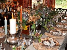 Fall Thanksgiving tablescape: dried flowers in a vintage wood box, wood slice plate chargers, brown transferware, dropcloth table cloth by S...