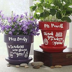 "These personalized Teacher Flower Pots are adorable! It's the perfect Teacher Appreciation Week Gift idea! You can choose purple or red and pick from 4 cute says like ""Thank you for helping me grow,"" ""Teachers plant seeds of knowledge that grow forever,"" ""If teachers were flowers, I'd pick you!"" and ""teachers that inspire will really make you bloom."""