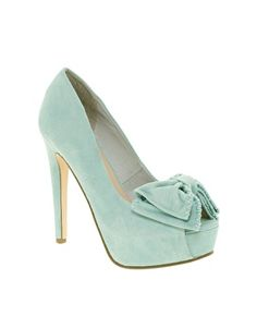 Bow Front Platform Peep Toe Shoes in Mint