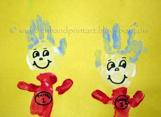 Handprint & Arm print Thing 1 & Thing 2 - Dr Suess Party or Playdate
