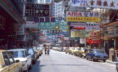 35mm Slide Hong Kong Street Scene 1978 Cars Stores Signs Restaurants
