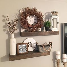 I've been dreaming of floating shelves since we lived in the old house and we fo. I've been dreami Small Living Room Design, Baby Room Design, My Living Room, Interior Design Living Room, Living Room Decor, Rustic Floating Shelves, Living Room Remodel, Decorating Blogs, Fill