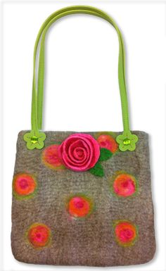 Red Handbag Handles with Flower Ends 60cm | Haberdashery | Products | Gilliangladrag Felting Shop for Feltmaking Kits, Felting Supplies, Felting Courses, Knitting Supplies, Fibres, Yarns and Haberdashery too!