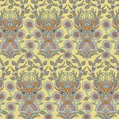 """""""Deer Me"""" in Dandelion -- premium woven quilting-weight cotton fabric from the Moon Shine collection by Tula Pink"""