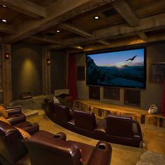 Home theater- hubby's dream basement! 😉 Home theater- hubby's dream basement! Home Theater Lighting, Home Theater Setup, Home Theater Speakers, Home Theater Rooms, Home Theater Seating, Home Theater Projectors, Cinema Room, Home Theater Design, Movie Theater