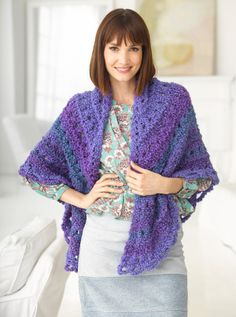 Tea In The Parlor Shawl-free pattern from lionbrand.com Uses Homespun Thick and Quick yarn