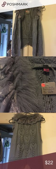 NWT Grey knitted vest w/faux fur/lace trim NWT Grey knitted vest with faux fur and lace trim and GORGEOUS knitted detailing! Buzz Sweaters