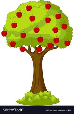Green Apple tree full of red apples vector image on VectorStock Apple Tree, Red Apple, Marsha And The Bear, Cartoon Dolphin, Family Tree Worksheet, Solar System Crafts, Garden Mural, Apple Vector, Funny Fruit