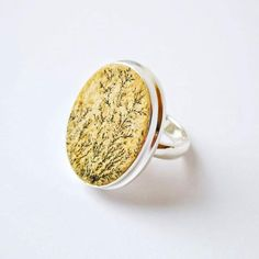 German Dendric agate Ring 7 US size oval shape Silver Jewelry, Silver Rings, Unique Jewelry, Yellow Rings, Love Natural, Dendritic Agate, Agate Ring, Pure Beauty, Gypsy Style