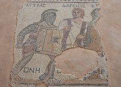 https://flic.kr/p/BbGUzL | Mosaic depicting gladiators being separated by a referee, late-3rd century AD, House of the Gladiators, Kourion, Cyprus | The gladiators, and a man standing between two of the gladiators are identified by names in Greek listed above their figures.