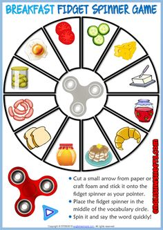 A set of fun esl printable fidget spinner vocabulary games for kids to study, learn and practise food and drin Food Games For Kids, Vocabulary Games For Kids, Spelling Activities, Preschool Learning Activities, Vocabulary Worksheets, Vocabulary Strategies, Listening Activities, English Games For Kids, Test For Kids
