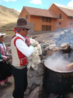 Dyeing yarn at 13,000 ft, at Chilca Tambo lodge, at Camino del Apu Ausangate Andean Lodges