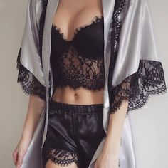 Black lace nightwear, satin knicker boxers and bustier