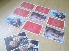 Family photo memory game using playing cards.  <3