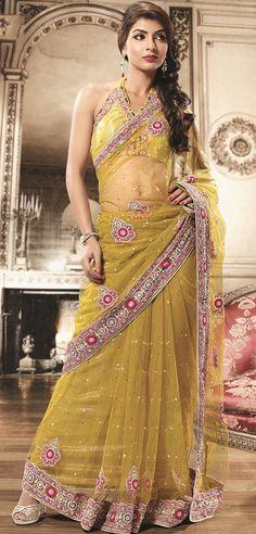 Yellow Net Stone Work Saree