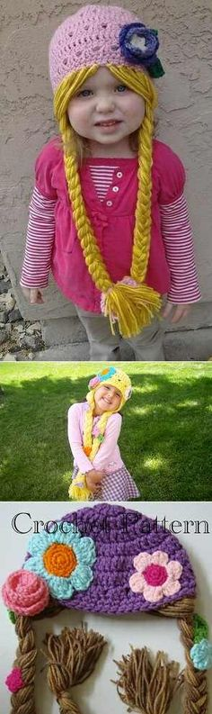 DIY Crochet Long Braids Rapunzel Hat